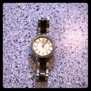Gold and tortoise shell Fossil watch